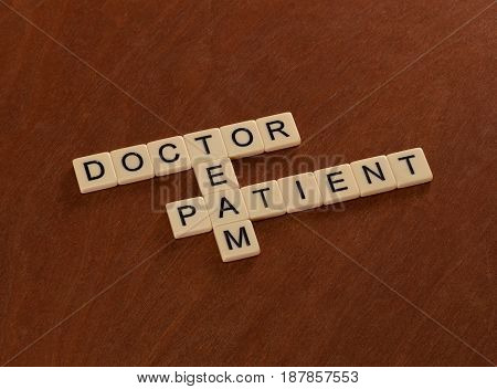 Crossword Puzzle With Words Doctor, Patient, Team. Healthcare Concept.