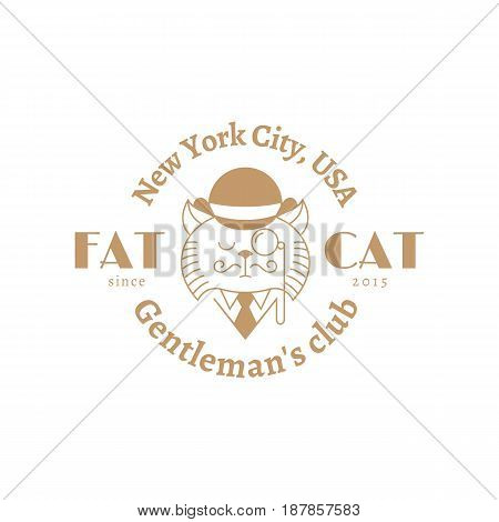 Funny design template with cat in hat monocle and tie. For gentleman's club emblems logo label badge sign etc. Vector illustration.