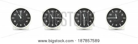 Closeup group of black and white clock with shadow for decorate show the time in 11 11:15 11:30 11:45 a.m. isolated on white background beautiful 4 clock picture in different time