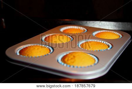 fresh muffins in the baking dish in the oven