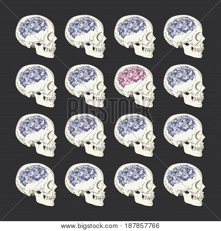 Vector conceptual illustration about individuality and society. Female skulls with brain in form of hydrangea flower. Stand out from crowd