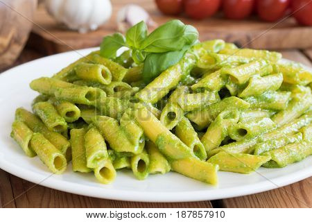 Cooked Pasta With Fresh Italian Basil Pesto