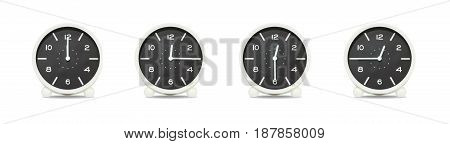 Closeup group of black and white clock with shadow for decorate show the time in 12 12:15 12:30 12:45 a.m. isolated on white background beautiful 4 clock picture in different time