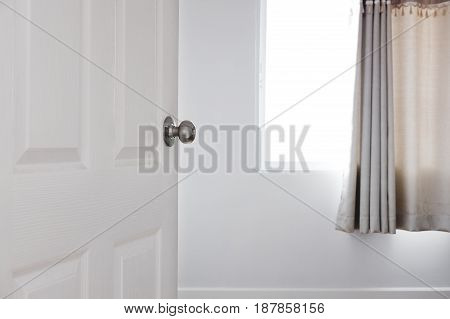Door opened to the room, real estate concept