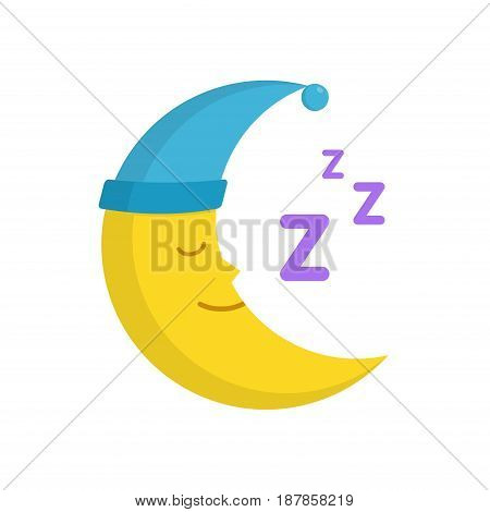 Sleeping moon in nightcap isolated on white background. Crescent in hat vector illustration