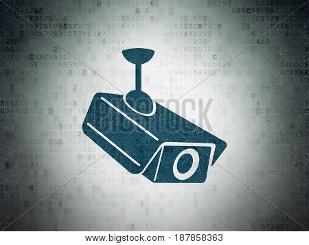 Security concept: Painted blue Cctv Camera icon on Digital Data Paper background