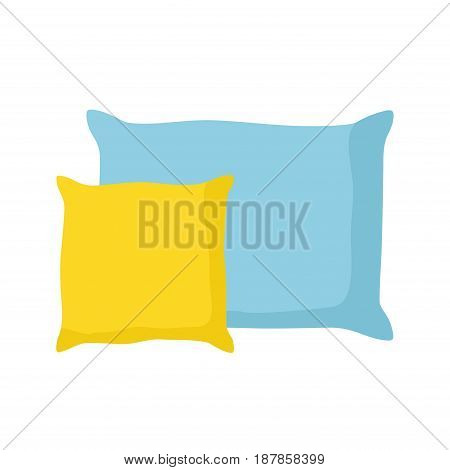 Blue and yellow pillows isolated on white background. Comfortable bed cushion pillow and bedding cloth. Vector Illustration
