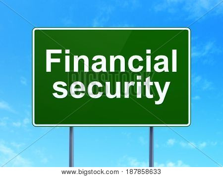 Safety concept: Financial Security on green road highway sign, clear blue sky background, 3D rendering