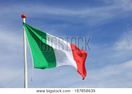 Italian Flag in red white and green