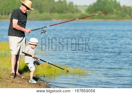 Lake Fishing Fun, Outdoors, Color Image, Toned Image