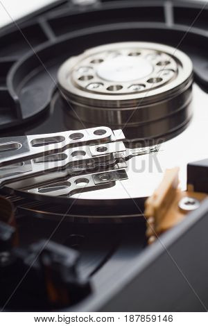 hard disk drive open case close up