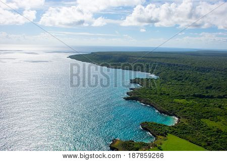 Aerial view of caribbean coastline from a helicopter Dominican Republic.