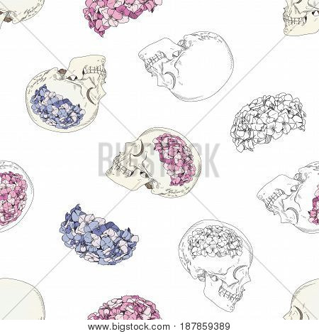 Vector seamless patterns with female skulls and colorful flowers. Brains in form of hydrangea and women's heads isolated on white background
