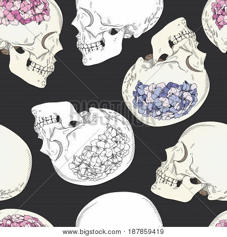 Vector seamless patterns with female skulls and colorful flowers. Brains in form of hydrangea and women's heads isolated on dark grey background