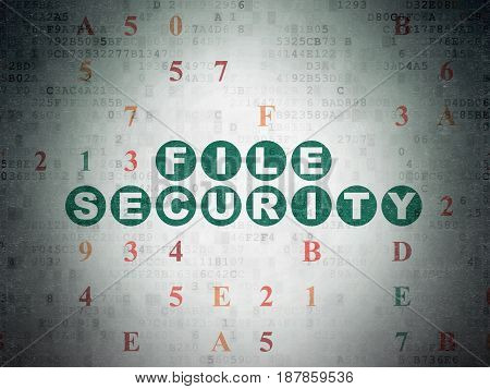 Privacy concept: Painted green text File Security on Digital Data Paper background with Hexadecimal Code