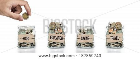 Money collecting, Hand putting coin in glass jar. Saving money for foods,education, future and travel