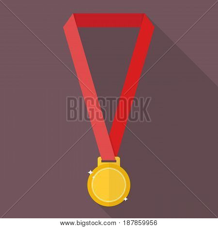 Gold medal in flat style. Symbol of victory and achievement