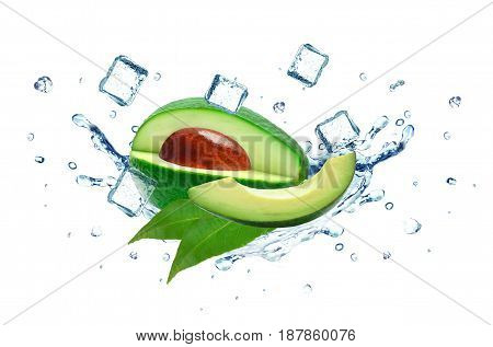 Avocado splash water and ice cubes isolated on white
