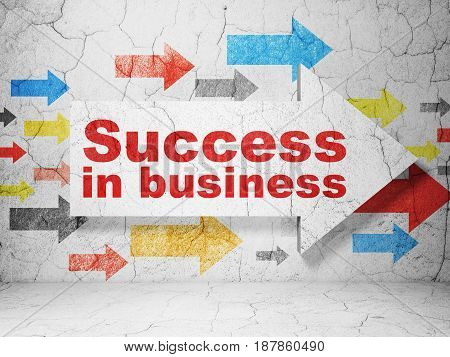Business concept:  arrow with Success In business on grunge textured concrete wall background, 3D rendering