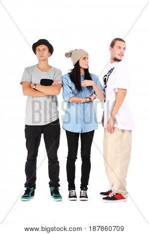 group of three friends on white background