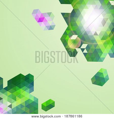 Abstract  green geometric mosaic background. Vector illustration.