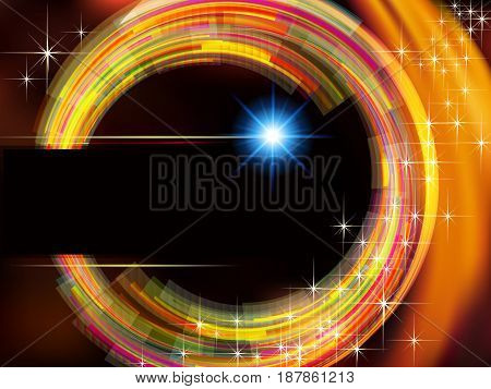 Abstract technology vector background with fire circle and stars.