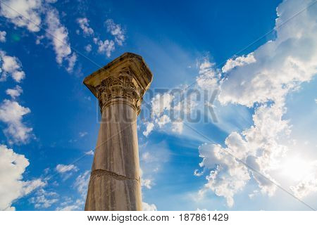 The ancient column in the Chersonese Taurida, Crimea