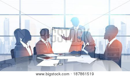 Silhouette Business People Team With Flip Chart Seminar Training Conference Brainstorming Presentation In Modern Office Flat Vector Illustration