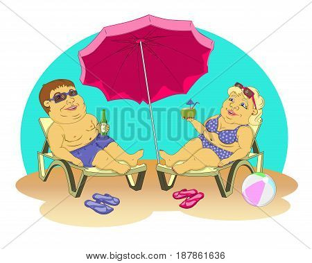 fat man and woman in beach suits are on selmah under the sun umbrella. Them sunglasses, they drink cocktails. Color vector illustration