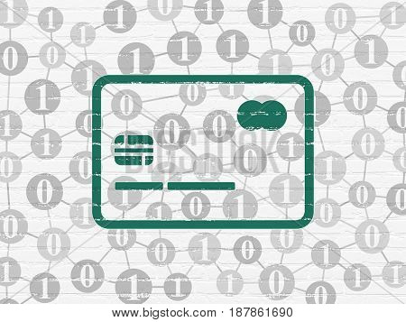 Business concept: Painted green Credit Card icon on White Brick wall background with Scheme Of Binary Code