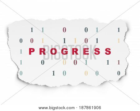 Business concept: Painted red text Progress on Torn Paper background with  Binary Code