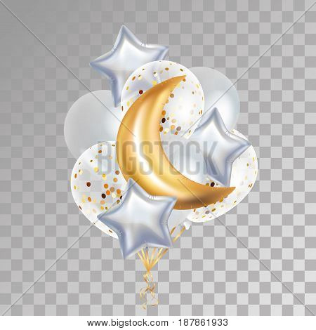 Gold Crescent Moon balloon Ramadan. Moon balloon on background. Party balloons event design decoration. Balloons isolated air. Party decorations wedding, birthday, baby shower, celebration, Ramadan,