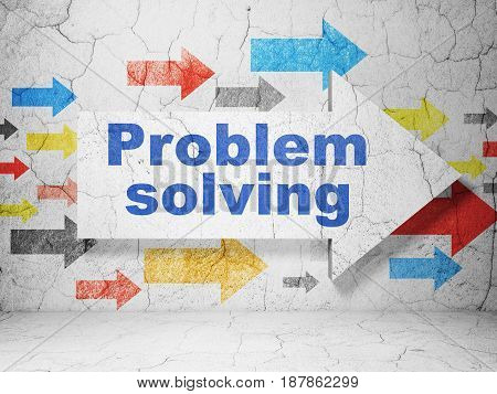 Business concept:  arrow with Problem Solving on grunge textured concrete wall background, 3D rendering