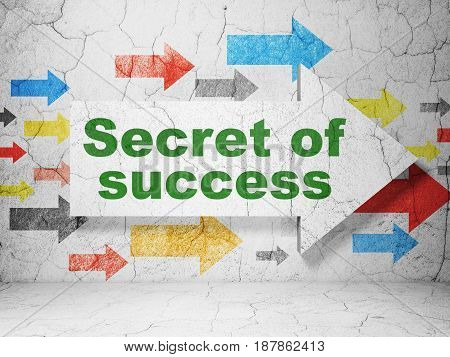 Finance concept:  arrow with Secret of Success on grunge textured concrete wall background, 3D rendering