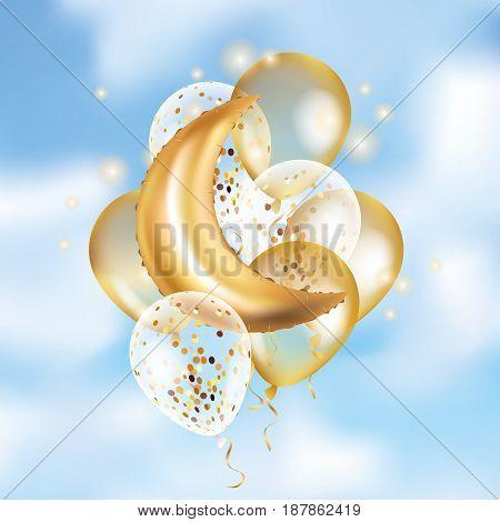 Gold Crescent Moon balloon Ramadan on sky. Moon balloon background. Party balloons event design decoration. Balloons isolate air. Party decoration wedding, birthday, baby shower, celebration, Ramadan