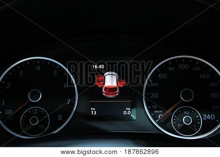 Digital dashboard of a modern car showing all different functions