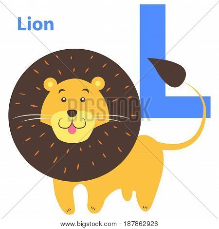 Children alphabet icon cartoon lion letter L isolated on white. Wild animal with black fluffy mane and tail, pink tongue. Vector illustration of funny ABC for kids with natural beast web banner.