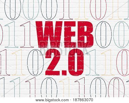 Web development concept: Painted red text Web 2.0 on White Brick wall background with Binary Code