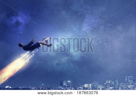 Woman riding missile . Mixed media