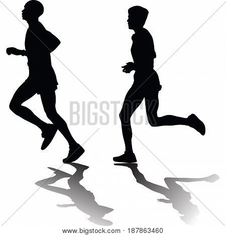 man and woman as a runner silhouette vector
