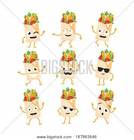 Shawarma Cartoon Character - modern vector template set of mascot illustrations. Gift images of shawarma, dancing, smiling, having a good time. Emoticons, happiness, emotions, coolness, kiss, surprise