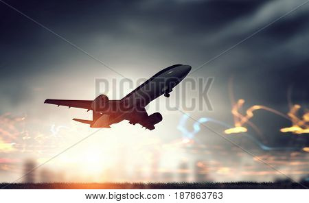 Airliner in night sky