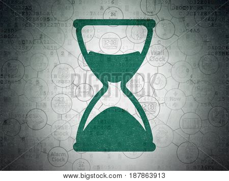Time concept: Painted green Hourglass icon on Digital Data Paper background with Scheme Of Hand Drawing Time Icons