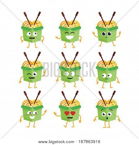 Wok Cartoon Character - modern vector template set of mascot illustrations. Gift images of wok dancing, smiling, having a good time. Emoticons, happiness, emotions, love, surprise, blinking