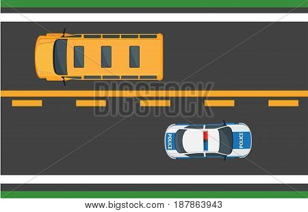 Active city traffic concept. School bus and police car goes on opposite road lanes top view flat vector. Urban highway illustration for transport concepts and logistics infographics design