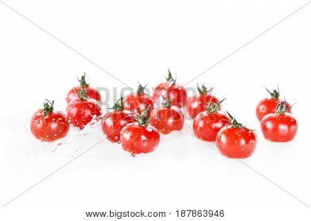 Heap Of Clean Wet Cherry Tomatoes Isolated On White, Fresh Vegetables On White