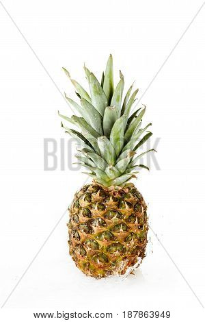 Fresh Wet Pineapple With Water Drops Isolated On White, Fresh Fruits Background