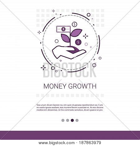 Money Financial Growth Success Business Web Banner With Copy Space Vector Illustration