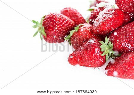Close-up View Of Fresh Ripe Strawberries With Water Drops Isolated On White, Fresh Fruits Background