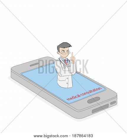 A person in the form of a doctor comes out of the phone. Medical healthcare and medicine mobile consultant in uniform profession. Vector illustration
